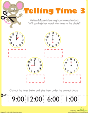 Kindergarten Math Worksheets: Telling Time with Melissa Mouse 3