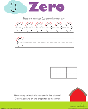Kindergarten Math Worksheets: Tracing Numbers & Counting: 0
