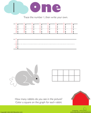 Kindergarten Math Worksheets: Tracing Numbers & Counting: 1