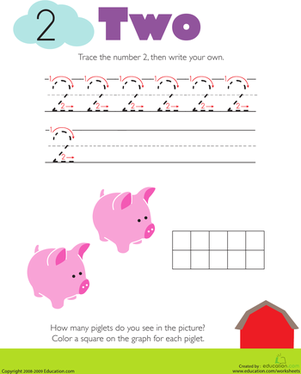 Worksheets Number 2 Worksheet For Kindergarten tracing numbers counting 2 worksheet education com kindergarten math worksheets 2