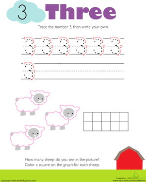 Kindergarten Math Worksheets: Tracing Numbers & Counting: 3