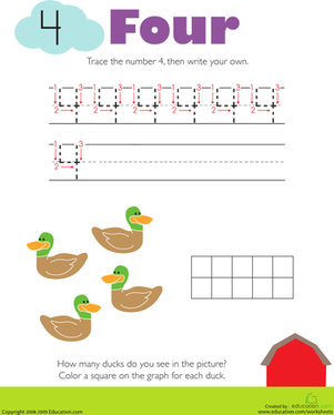 Kindergarten Math Worksheets: Tracing Numbers & Counting: 4