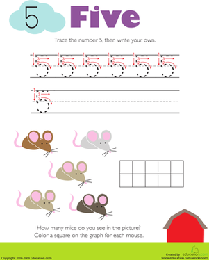 Kindergarten Math Worksheets: Tracing Numbers & Counting: 5