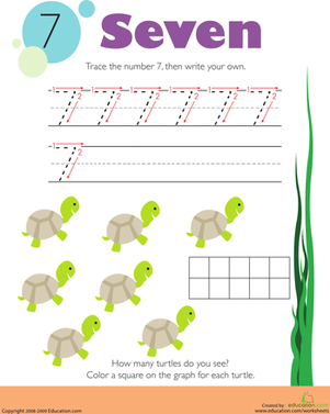 Kindergarten Math Worksheets: Tracing Numbers & Counting: 7