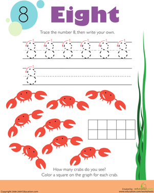 Kindergarten Math Worksheets: Tracing Numbers & Counting: 8