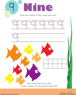 Tracing Numbers & Counting: 9 | Worksheet | Education.com