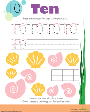 Tracing Numbers & Counting: 10 | Worksheet | Education.com