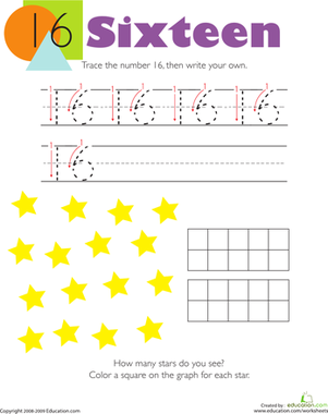 Kindergarten Math Worksheets: Tracing Numbers & Counting: 16