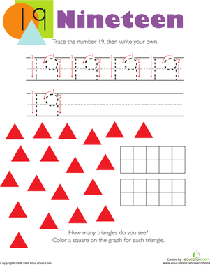 Kindergarten Math Worksheets: Tracing Numbers & Counting: 19