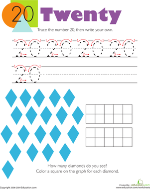 Kindergarten Math Worksheets: Tracing Numbers & Counting: 20