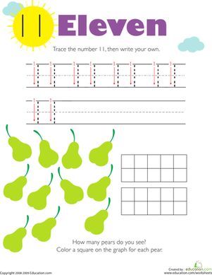 Kindergarten Math Worksheets: Tracing Numbers & Counting: 11