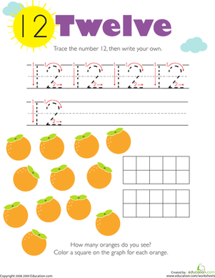 Kindergarten Math Worksheets: Tracing Numbers & Counting: 12