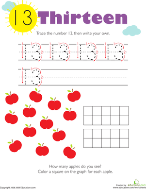 Kindergarten Math Worksheets: Tracing Numbers & Counting: 13