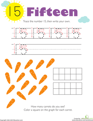 Kindergarten Math Worksheets: Tracing Numbers & Counting: 15
