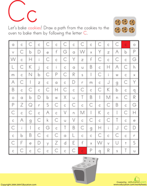 Kindergarten Offline games Worksheets: Letter Maze: C