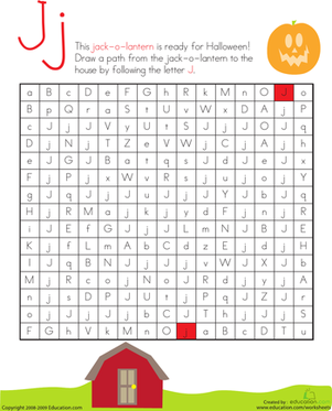 Kindergarten Holidays & Seasons Worksheets: Letter Maze: J