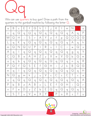 Kindergarten Reading & Writing Worksheets: Letter Maze: Q
