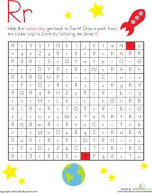 Kindergarten Reading & Writing Worksheets: Letter Maze: R
