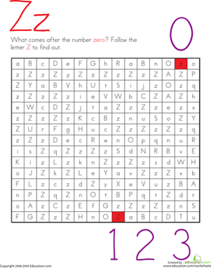 Kindergarten Reading & Writing Worksheets: Letter Maze: Z