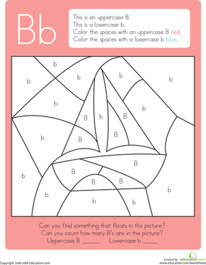 Kindergarten Reading & Writing Worksheets: Color by Letter: B