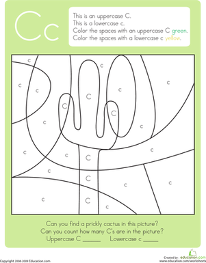 Kindergarten Reading & Writing Worksheets: Color by Letter: Capital and Lowercase C