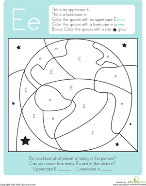 Kindergarten Reading & Writing Worksheets: Color by Letter: Capital and Lowercase E