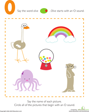 Preschool Reading & Writing Worksheets: Letter Sounds: O