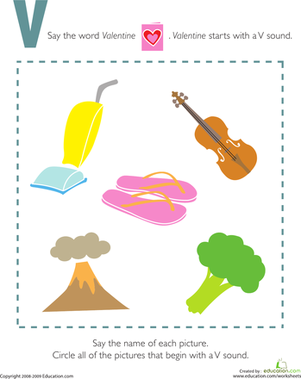 Preschool Reading & Writing Worksheets: Letter Sounds: V