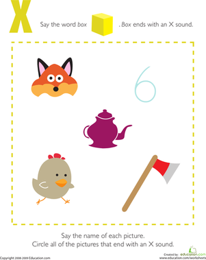 Preschool Reading & Writing Worksheets: Letter Sounds: X