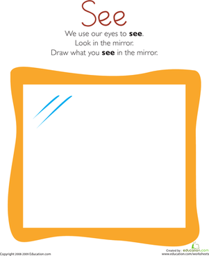 Kindergarten Science Worksheets: Our Five Senses: Sight