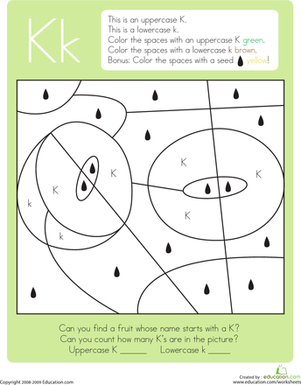 Kindergarten Reading & Writing Worksheets: Color by Letter: Capital and Lowercase K