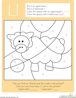 Kindergarten Reading & Writing Worksheets: Color by Letter: Capital and Lowercase L