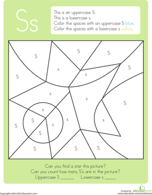 Kindergarten Reading & Writing Worksheets: Color by Letter: Capital and Lowercase S