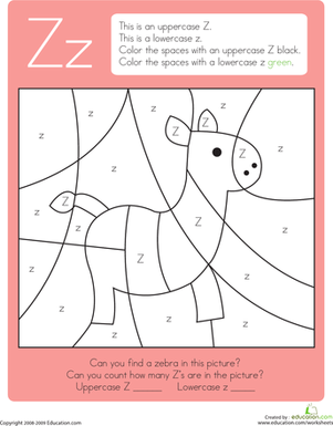 Kindergarten Reading & Writing Worksheets: Color by Letter: Capital and Lowercase Z