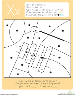 Worksheets X Pictures For Kindergarten color by letter capital and lowercase x worksheet education com kindergarten reading writing worksheets x