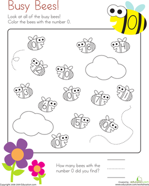 Kindergarten Math Worksheets: Number 0 Coloring Page