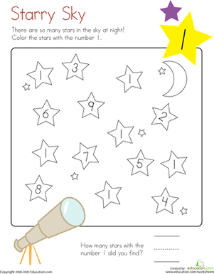 Learning Numbers: Number 1 | Worksheet | Education.com