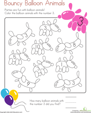 Kindergarten Math Worksheets: Number 3 coloring Page
