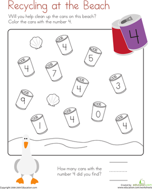 Printables Recycling For Kids Worksheets coloring 4 recycling at the beach worksheet education com