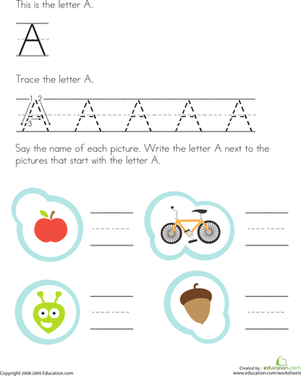 Preschool Reading & Writing Worksheets: Tracing Letters: A