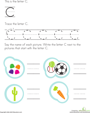 Preschool Reading & Writing Worksheets: Trace and Write the Letter C