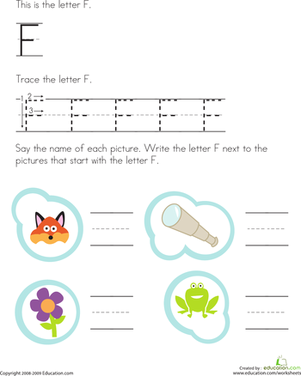 Preschool Reading & Writing Worksheets: Trace the Letter F