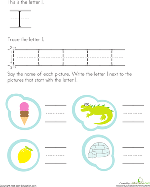 Preschool Reading & Writing Worksheets: Trace the Letter I
