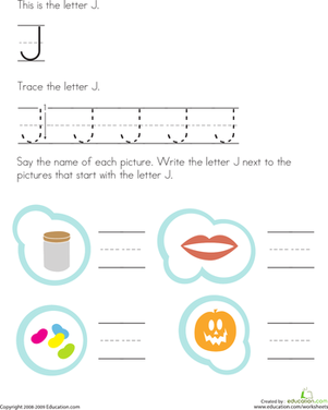 Preschool Reading & Writing Worksheets: Trace and Write the Letter J