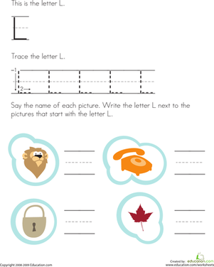 Preschool Reading & Writing Worksheets: Trace and Write the Letter L