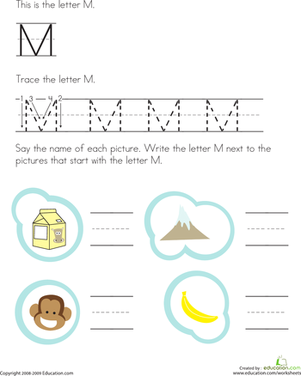 Trace and Write the Letter M