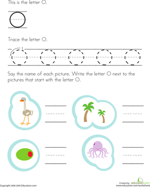 Preschool Reading & Writing Worksheets: Trace and Write the Letter O