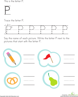 Preschool Reading & Writing Worksheets: Trace and Write the Letter P