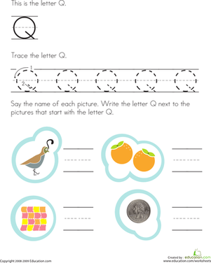 Preschool Reading & Writing Worksheets: Trace and Write the Letter Q