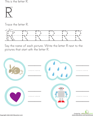 Preschool Reading & Writing Worksheets: Trace and Write the Letter R